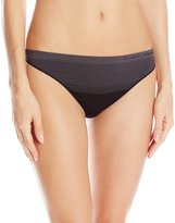 Calvin Klein Women's Seamless Illusions Thong Panty, Black/Ashford Grey