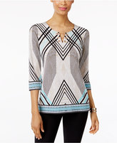 JM Collection Geo-Print Toggle-Neck Tunic, Only at Macy's