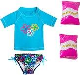 Jump N Splash Toddler Girls' Flower Power TwoPiece Short Sleeve Rashguard Set w/ Free Floaties (2T-3T) - 8143062