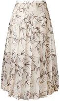 Rochas swallow print pleated skirt