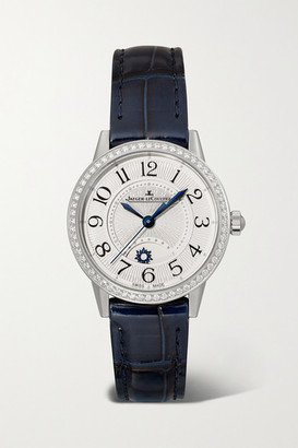 Jaeger-LeCoultre Rendez-vous Night & Day 29mm Small Stainless Steel, Alligator And Diamond Watch - Silver