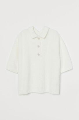 H&M Rhinestone-button Fluffy Top - White