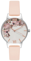Olivia Burton OB16EG75 Women's Enchanted Garden Leather Strap Watch, Nude Peach/White