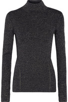 Diane von Furstenberg Tess Metallic Merino Wool-blend Turtleneck Sweater - Midnight blue