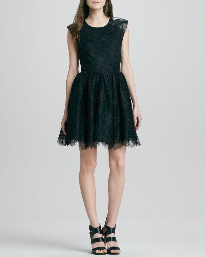Alice + Olivia Nelly Lace/Leather Mini Dress