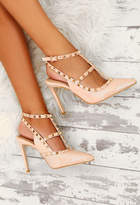 Pink Boutique Innocent Nude Patent Studded Stiletto Heels