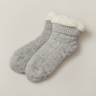 Indigo Low-Rise Pointelle Reading Socks Heather Grey