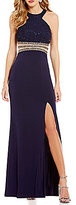 Xtraordinary Sequin Lace Bodice Embellished Waist Long Dress