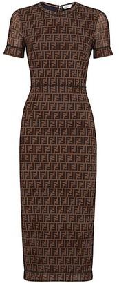 Fendi Allover Logo Net Sheath Dress