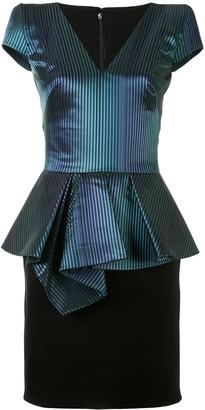 Saiid Kobeisy Striped Peplum Mini Dress