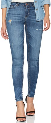 Pieces Women's Pcfive Delly B156 Mw Skn Des JNS Mb/noos Skinny Jeans