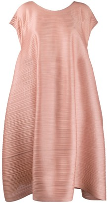 Pleats Please Issey Miyake Ruched Back Pleated Dress