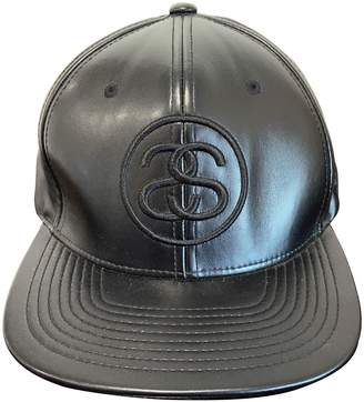 Stussy Black Leather Hats & pull on hats