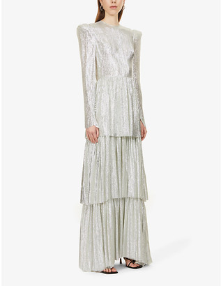 The Vampire's Wife The Unrequited tiered metallic wool-silk blend maxi dress