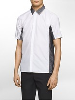 Calvin Klein Platinum Regular Fit Contrasting Mesh Inset Short-Sleeve Shirt