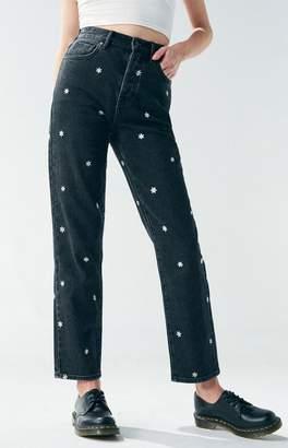 Pacsun PacSun Black Raining Daisy High Waisted Straight Leg Jeans