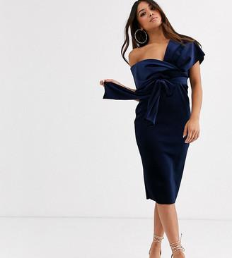 Asos DESIGN Petite velvet fallen shoulder midi pencil dress with tie detail