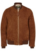 Schott Nyc Lz6 Two-tone Suede Bomber Jacket