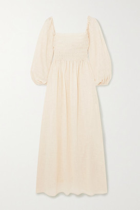 CLOE CASSANDRO + Net Sustain Agatha Shirred Organic Cotton-gauze Midi Dress - Cream