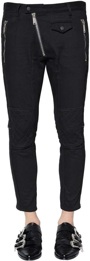 DSQUARED2 16.5cm Zip Cotton Denim Biker Pants