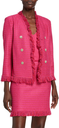 St. John Poppy Textured 3/4-Sleeve Jacket