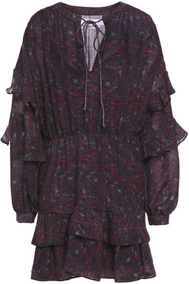IRO Camax Ruffled Printed Wool-twill Mini Dress