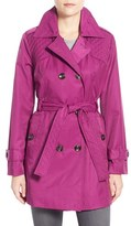 London Fog Women's Quilt Detail Double Breasted Trench Coat