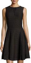 Taylor Sleeveless Lace-Insert Knit Dress, Black