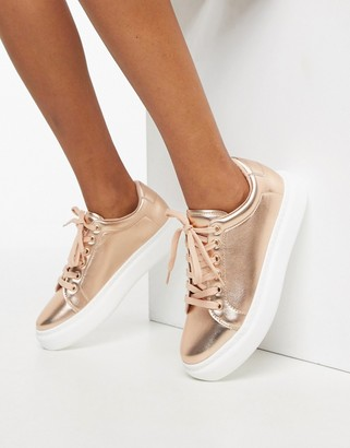 Asos Design DESIGN Doro chunky lace up sneakers in rose gold