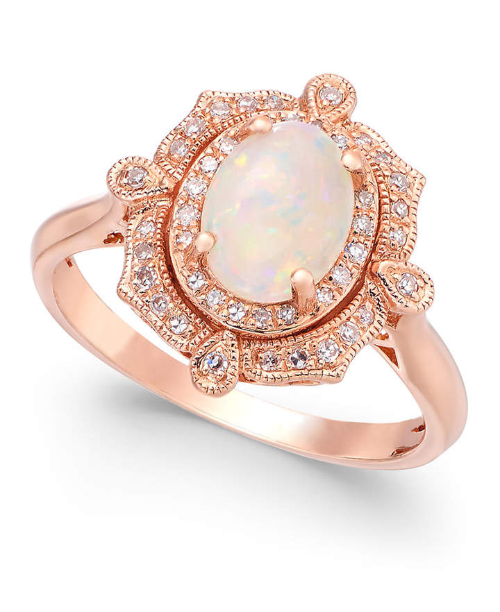 Effy Aurora by Opal (5/8 ct. t.w.) and Diamond (1/6 ct. t.w.) Oval Ring in 14k Rose Gold