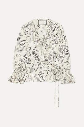 Rixo Laura Jackson Roisin Ruffled Printed Cotton-voile Wrap Top - Cream