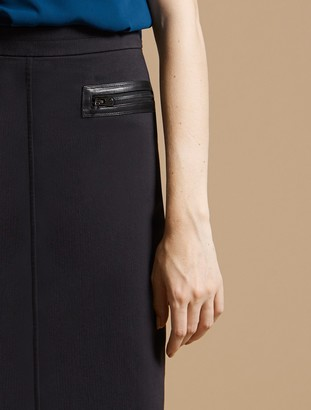 Halston Slim Pencil Skirt With Zipper Detail