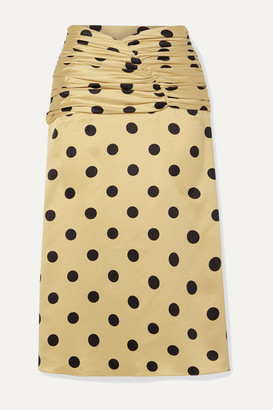 Orseund Iris Romantique Ruched Polka-dot Satin Skirt - Beige