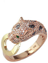 Effy White And Black Diamond, Emerald, 14K Rose And Yellow Gold Ring, 0.66 TCW