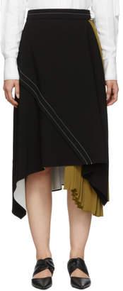 Proenza Schouler Black and Khaki Crepe Asymmetric Skirt