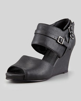 Eileen Fisher Tend Washed Leather Wedge, Black