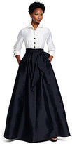 Adrianna Papell Button-Down Blouse 3/4 Sleeve Bow Taffeta Gown