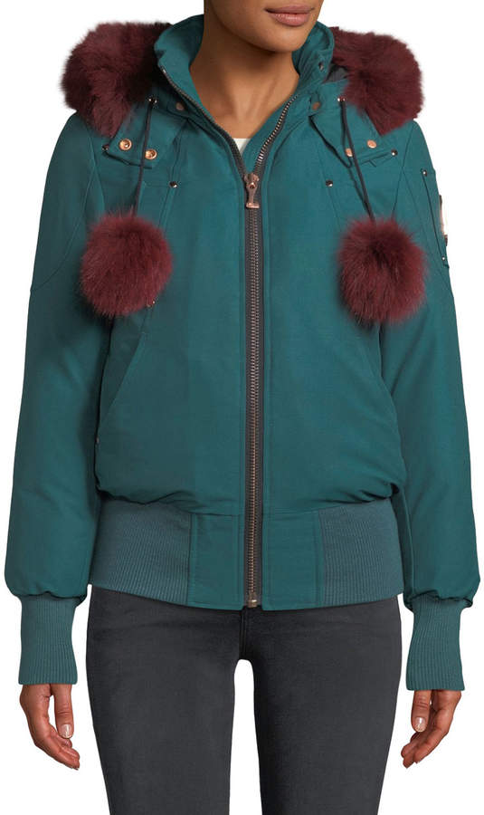 Moose Knuckles Yorkdale Bomber Jacket w/ Fur Pompoms & Detachable Hood