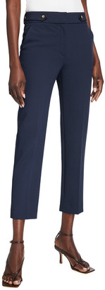 Veronica Beard Gamila Sport Suiting Button-Waist Ankle Pants