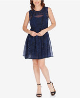 Lucky Brand Sheer Printed Fit & Flare Dress