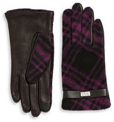 Lauren Ralph Lauren Plaid Print Leather Tech Gloves