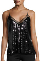 Free People Mesh-Trimmed Sleeveless Sequined Top