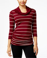 Pink Rose Juniors' Striped Cowl-Neck Ribbed Sweater