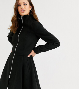 Asos Tall ASOS DESIGN Tall swing coat with zip front detail in black