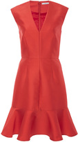 Carven Silk Blend V Neck Dress with Ruffled Hem