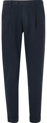 NN07 Slim-Fit Pleated Brushed Cotton-Twill Trousers