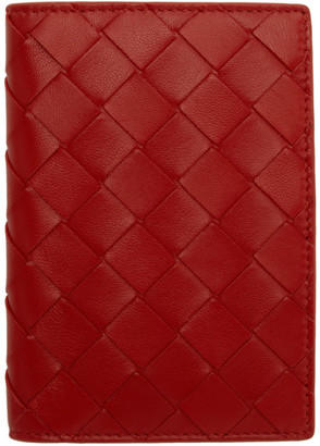 Bottega Veneta Red Intrecciato Bifold Passport Holder