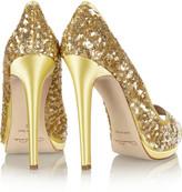 Oscar de la Renta Valerie sequined satin peep-toe pumps