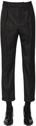 Saint Laurent Cropped Wool Lurex Trousers
