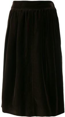 Yves Saint Laurent Pre Owned 1970's Velvet Effect Gathered Skirt